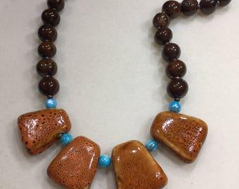 Ceramic bib necklace
