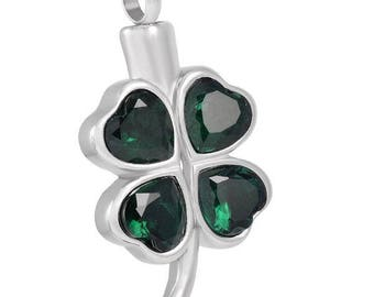 Shamrock Cremation  Pendant-Cremation Jewelry, Urn Necklace, Memorial Jewelry, Necklace for Ashes, Keepsake Jewelry
