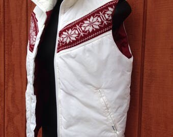 Vintage 70s 80s Down Puffer Vest Women's white size small Alpine sweater knit trim size small