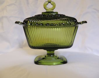 Vintage Green Glass Candy Dish on Pedestal with lid