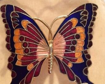 Enamel Butterfly Belt Buckle 1980s
