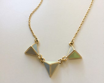 80's Minimalist Necklace Geometric Pastel and Gold // Modernist Geometric Triangle Necklace Gold and Enamel in Pastel Blue and Greens