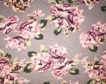 Evie Grey Floral - Rayon Spandex Knit
