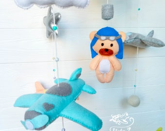 Hot Air Balloon mobile Baby Mobile Airplane Music baby mobile Nursery Decor Plane nursery mobile Pilot Plane Cloud mobile gift Blue mobile