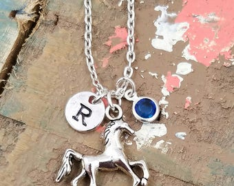 Horse Necklace, Horse Jewelry, Horse Lover Gift, Pony Necklace, Personalized Horse Necklace, Horse Gifts, Little Girl, Initial Birthstone