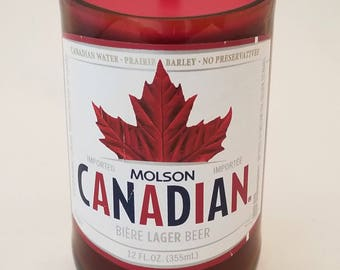 Molson Canadian Beer Bottle Candle