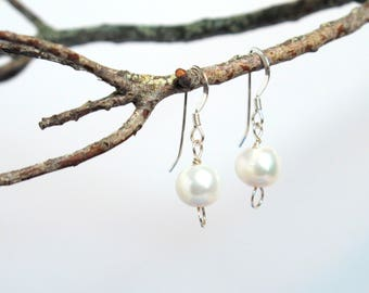Single Drop Lustrous Pearl & Sterling Silver Earrings
