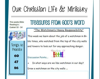 Kids OCLAM August 14-20  Prestudy Sheet Our Christian Life & Ministry JW Jehovah's Witnesses Homeschool Family Worship