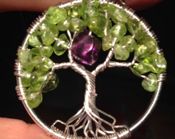 Sale!Valentina's Day Amethyst /Peridot Tree of Life Necklace Pendant *Heart* Silver Plated Wire .Tarnish Resistant Silver.Silverplated Chain