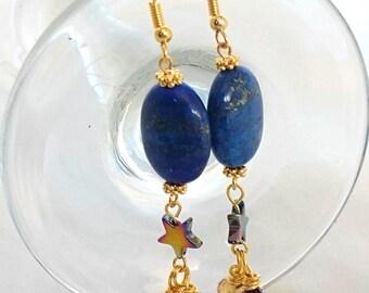 Lapis Lazuli Earrings-Lapis Lazuli Gemstone Earrings-Semi Precious Lapis Lazuli Earrings-Blue Gemstone Drop Earrings-Lapis Lazuli Jewellery