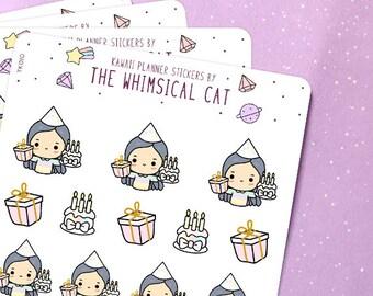 TK010 | Birthday Planner Stickers, Birthday Stickers, Kawaii Birthday Stickers, Cute Birthday Stickers, Happy Birthday Stickers