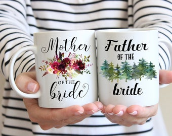 Mother of the Bride Father of the Bride, Mug Set, Gift for Mom and Dad, Mother Wedding Gift, Wedding Gift For Dad, Bridal Shower Gift