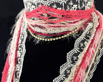 NEW Pink Romance   Lace Scarf   Skinny Scarf   Pink Statement Necklace   Wedding Scarf   Romantic Jewelry   Skinny Scarf   Wedding Necklace