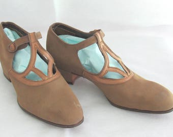 Vintage 1920's Tan Suede T-Strap Shoes - Dixie Girl