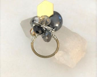 Bronze and Brass Crystal Beaded Statement Ring