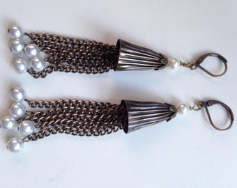 Antique Copper and Pearl Tassel Earrings
