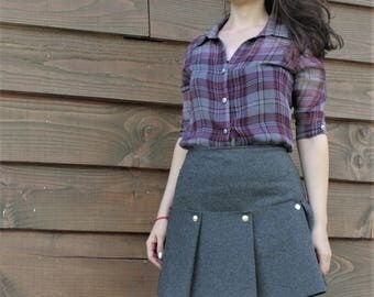 gray woolen warm winter pleated skirt