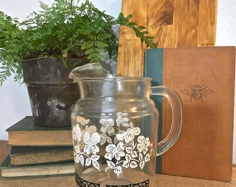 Retro Glass Water Pitcher with Black and White Floral design