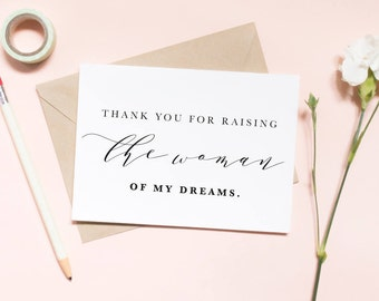 Thank you for raising the woman of my dreams card, in laws card, thank you card, wedding day card / SKU: LNWD29