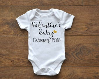 Valentine's Day baby, february baby, Due in february, New Baby, Pregnancy Announcement, Bodysuit, Pregnancy reveal, February 2018
