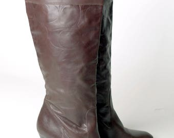 Coach Millie Embossed Knee High Boots Brown Leather sz 9.5