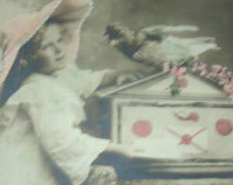 Vintage Hand Tinted RPPC of Little Girl and her Bird
