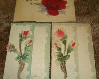 3 Pretty Vintage Floral Postcards