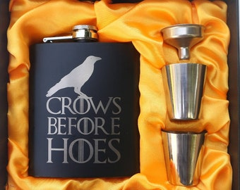 Crows Before H**s Game of Thrones Flask // Engraved Flask // His Gift  // Funny Flask // Hip Flask for Men // 21st Birthday Gift // 7 oz