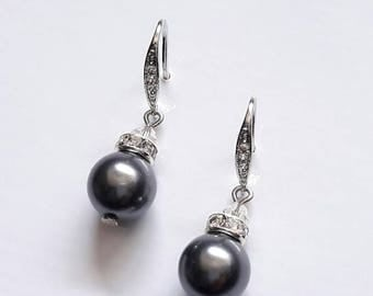 Bridal pearl earrings Rhodium plated Wedding CZ earrings Bridal pearl Pearl drop earrings Bridal earrings Simple dangle earrings Zirconia
