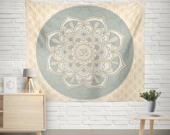 Sacred Om Tapestry,Mandala wall hanging,Wall decor tapestry,Bohemian tapestry,Boho Tapestry,Ethnic Mandala wall tapestry,Beige Tapestry