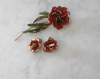 Red and Gold Rose Brooch and Clip On Earrings Jewelry Set