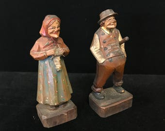 Folk Art Wooden Old Couple