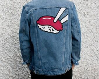 Sad Sushi Customized Denim Jacket Size L