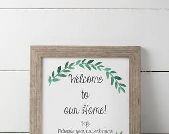 Guest Room Wifi Sign // Guest Room Welcome Sign  // Wifi Sign // Welcome Sign // Guest Room // Greenery // 8x1o // Digital // Printable