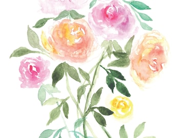 Rose Bouquet Watercolor Card
