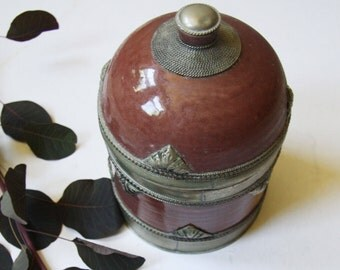 Vintage Ceramic Canister-Ceramic Container-Ceramic Jar-Ceramic Canister-Handmade-Stoneware,-Food Safe-Kitchenware-Kitchen Storage-Cookie Jar