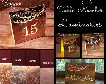 ROSE GOLD COPPER or Silver Mercury Glass Style Table Number Luminaries
