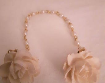 Vintage Pearl and White Flower Sweater Clip - Gold Tones - Marked Pat Pending - 1960s