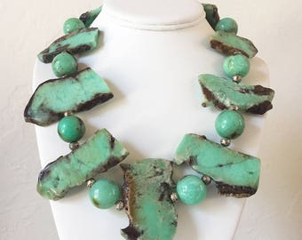 Chrysoprase Statement Necklace with Sterling Silver Toggle Clasp