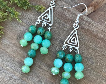 Seafood Dangle Earrings || Ocean Earrings || Green Earrings || Boho Chic Earrings