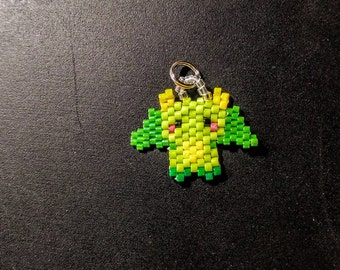 Hand beaded dragon charm