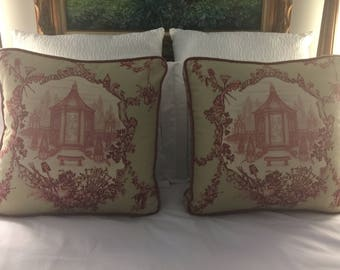 Vintage Toile Chinoiserie Green Burgundy Pillows Cushions Custom Cording (1 Pair of 2)