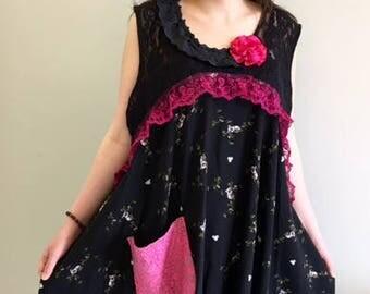 Boho Dress , Upcycled Clothing, Gypsy Dress, Boho Gypsy Clothing, Upcyled Recycled Repurposed Clothing,  Funky Upcycled Top Tunic Dresses
