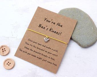 Bee Wish Bracelet, Bee Bracelet, Bee Friendship Bracelet, Bees Knees Gift, Bumble Bee Charm Bracelet, Bee Jewellery, Bee Cord Bracelet