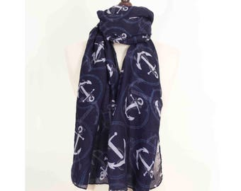 Anchor Scarf, Navy Gift, Blue Scarf, Gift for him, For her, Anniversary Scarf, Soft Scarf, Long Scarf, Nautical Scarf, Sailor scarf