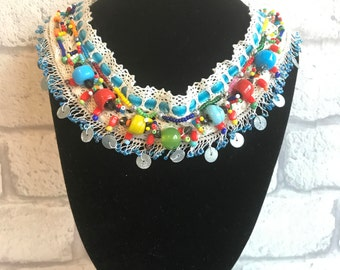 Handmade Vintage Lace Bib Necklace, One-of-a-kind Assemblage Bib Necklace, Ethnic Collar Necklace, Unique Statement Necklace
