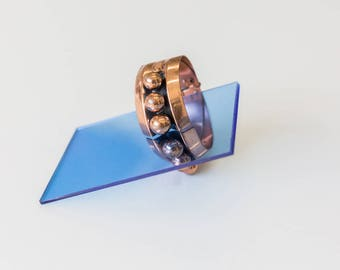 Hinged Copper Renoir Signed Bracelet, Mid Century Modern, Sphere Design