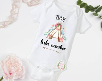 New tribe member, boho baby, boho bodysuit, baby boho clothes, boho baby clothes, tribe clothes, tribe bodysuit, floral tribe, teepee shirt