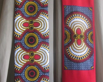 """The """"Ankara Connection"""" - OOAK Clergy Stole features pieced Ankara Fabric and Denim 50"""" x 4.75"""" - Ready to Ship"""