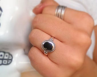 Sterling silver onyx ring - boho ring - birthstone ring - gemstone ring - bohemian ring - vintage ring - July stone ring - promise ring